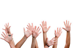 Human hands in the air. Royalty Free Stock Photos