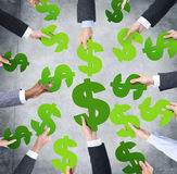 Human Hands around the Currency sign Stock Image