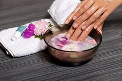 Human hands in bowl with oil and flower Stock Photos