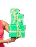 Human hands with boxes gifts. Birthday Stock Photos