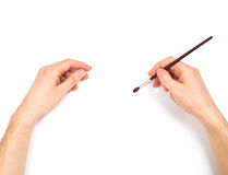 Human hands with brush painting something Stock Image