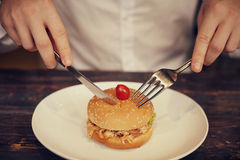 Human hands with burgers Stock Images