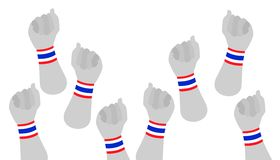Human Hands Clenched Fist with Thai Wristband. People Clenched Fist Raised Up in The Air with Red, White and Blue Stripe of Thailand Flag Wristband Democraycy Royalty Free Stock Image