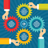 Human hands with colored gears - infographic business concept - vector concept illustration in flat style design. Royalty Free Stock Photo