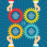 Human hands with colored gears - infographic business concept - vector concept illustration in flat style design. Stock Image