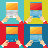 Human hands and computer notebook in flat design style. Different colors. Royalty Free Stock Photos