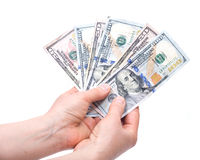 Human hands counting money Stock Photo