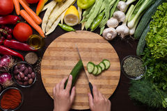 Human hands cutting cucumber and variation of vegetables and spices around. Photo from directly above of human hands cutting cucumber on the cutting board and Royalty Free Stock Photo