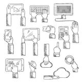 Human hands with digital devices Royalty Free Stock Photography