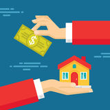 Human Hands with Dollar Money and House. Flat style concept design illustration Stock Image