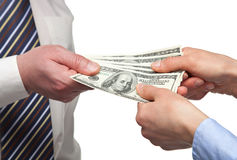 Human hands exchanging money. On white background royalty free stock photography