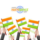 Human Hands with Flags for Indian Independence Day. Stock Image