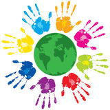 Human hands and green planet Royalty Free Stock Photos