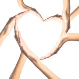Human hands in heart shape isolated Royalty Free Stock Photos