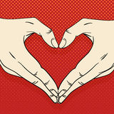 Human hands with heart sign. Love concept. Human hands with heart sign. Love vector concept Stock Photos