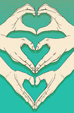 Human hands with heart sign set. Human hands with heart sign vector set Stock Image