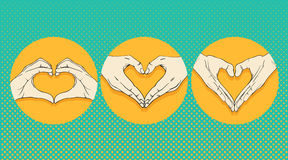 Human hands with heart sign set. Vector Stock Photo