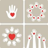 Hands with hearts. Vector illustration. Human hands with hearts, sign, symbol, icon. Hands raising love with heart Stock Images