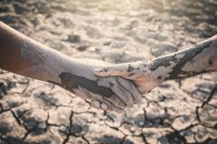 Human hands helping on cracked dry ground royalty free stock photo