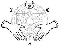 Human hands hold Alchemical circle. Vector illustration isolated on a white background Stock Image