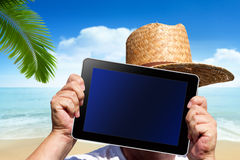Human hands hold a digital Tablet with screen clipping path Royalty Free Stock Images