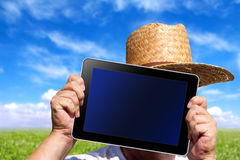 Human hands hold a digital Tablet with screen clipping path Stock Image