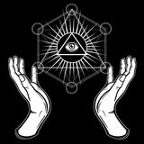 Human hands hold the shining triangle, a providence eye. Sacred geometry, mystical symbol. Vector illustration isolated on a black background stock illustration