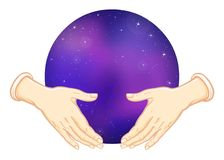 Human hands hold the sphere symbolizing the space. Human hands hold the sphere symbolizing the  space. Vector illustration isolated on a white background Royalty Free Stock Photography
