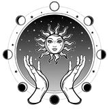 Human hands hold a symbol of the sun. Background - a circle of the night star sky, a phase of the moon. Vector illustration isolated on a white background Stock Images