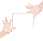 Human hands holding blank paper Stock Photos