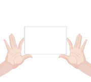 Human hands holding blank paper horizontal Royalty Free Stock Image