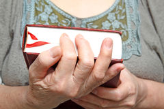 Human hands holding a book. Royalty Free Stock Images