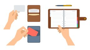Human hands are holding cardholder with cards and paper planner. Hands are holding paper organiser and cardholder with cdedit cards. Flat illustration of Stock Photos