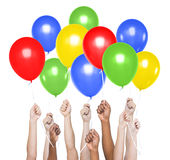 Human Hands Holding a Colourful Balloons Royalty Free Stock Image