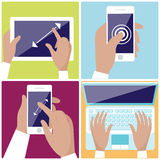 Human hands holding digital devices icons set. Flat design icon set with hands typing on keyboard of laptop,  hold smartphone showing some of multitouch gestures Royalty Free Stock Image