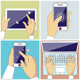 Human Hands Holding Digital Devices. Set with hands typing on keyboard of laptop, hold smartphone showing some of multitouch gestures in flat design. Stroke Stock Photos
