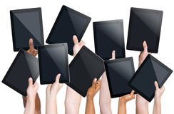 Human Hands Holding Digital Tablets Stock Photo