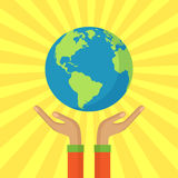 Human hands holding floating globe. Save our planet vector Stock Photos
