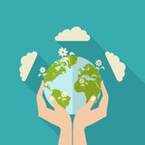 Human Hands Holding Globe royalty free illustration