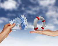 Human hands holding money against blue sky Stock Images