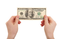 Human hands  holding money dollars, 100 Stock Photo