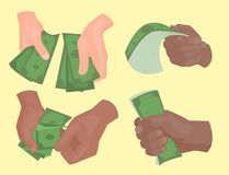 Human hands holding money vector illustration businessman financial rich people body part. Hands holding dollars and money bills. Vector illustration in flat Stock Photos