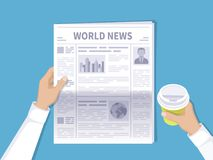 Human hands holding newspaper and disposable coffee cup. The latest world news for the morning coffee. Newspaper with photos. Text and headlines in flat Royalty Free Stock Image