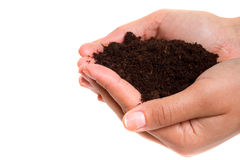 Human hands holding pure soil. Over white Stock Photos