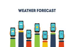 Human Hands Holding Smartphones with Weather Forecast Applications Vector Illustration. On White Background vector illustration