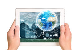 Human hands holding tablet Royalty Free Stock Photos