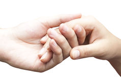 Human hands holding together Stock Photo
