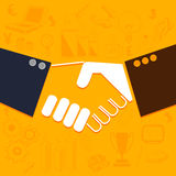 Human hands with infographic element. Illustration of business people shaking hands on various infographic background Royalty Free Stock Images