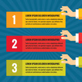 Human hands with information blocks - infographic business concept - vector concept illustration in flat style design. Human hands with information blocks Royalty Free Stock Image