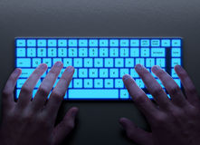 Human hands with keyboard Royalty Free Stock Photography